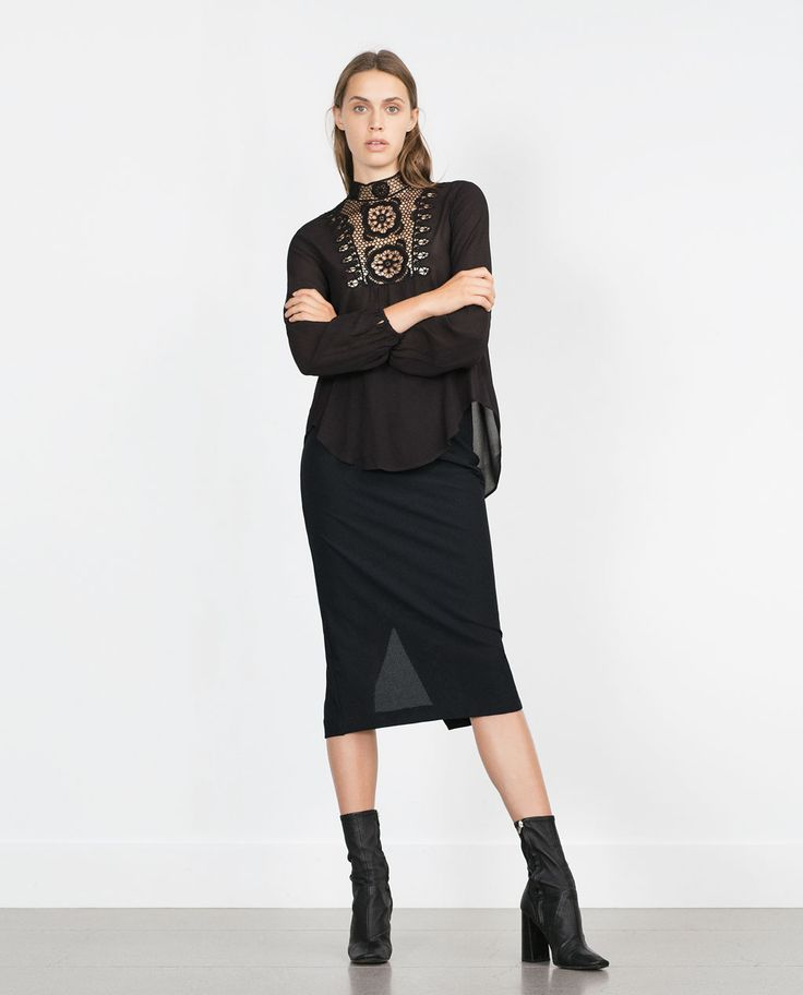 TOP WITH CROCHET BIB FRONT-Blouses-Tops-WOMAN | ZARA United States