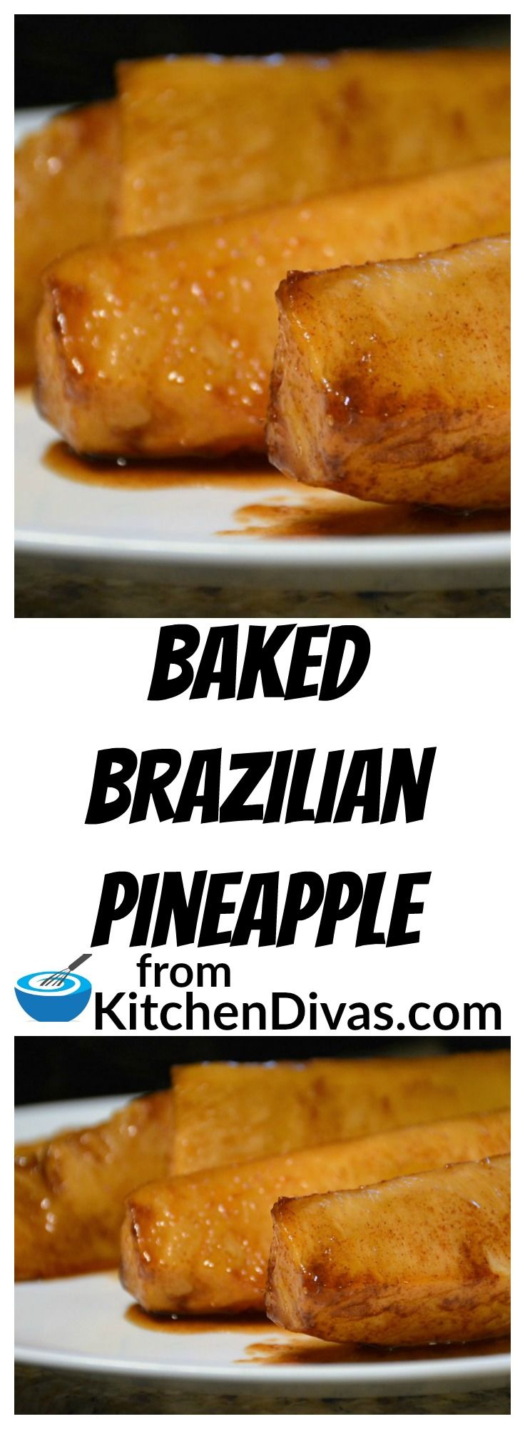 Wow is this pineapple delicious. After first having a grilled version of this pineapple at our favorite Brazilian steak house we had to figure out how to make it at home. Here is the recipe. Enjoy!