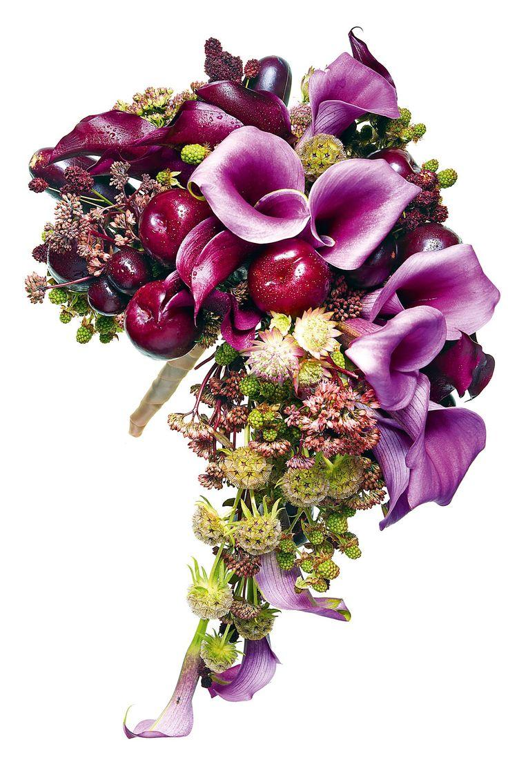 Bouquet (calla lilies, scabious seen pods, sedum, marjoram, aubergines, plums, cherries and burgundy grass)