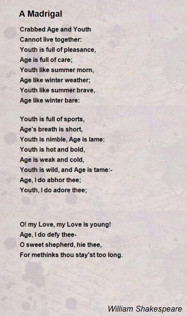 A Madrigal Poem by William Shakespeare - Poem Hunter ...