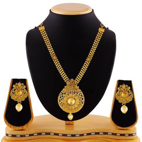 Gold Color Brass Necklace Set  - RLNS-1308
