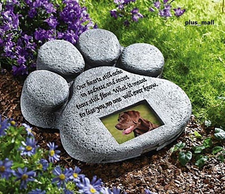 Paw Print Pet Dog Memorial Stone Marker Photo Frame Grave Plaque Headstone Poem #Collections