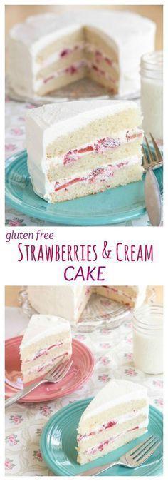 Gluten Free Strawberries and Cream Cake - a family favorite dessert recipe! Layers of white cake, sweet berries, and homemade whipped cream. | cupcakesandkalech...