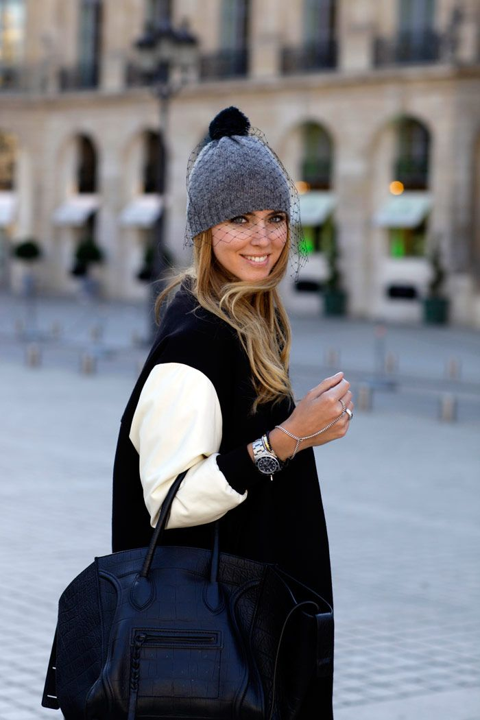 how to look chic in the cold: wear a veil beanie like this Grey Cashmere one by BERNSTOCK SPEIRS #StreetStyle