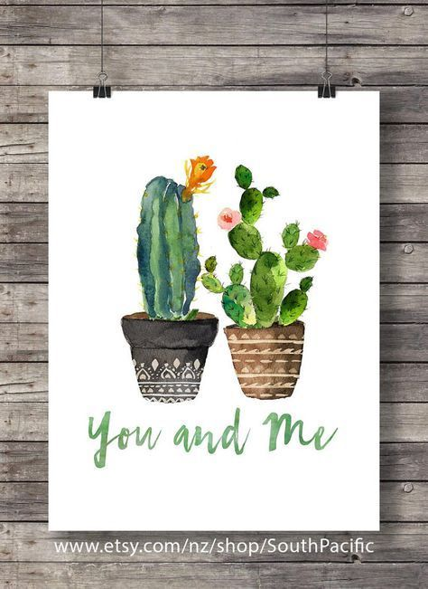 Cacti You and Me Valentine Cacti Watercolor cactus wedding typography hand lettering decor Printable cactus wall art house plant cactus