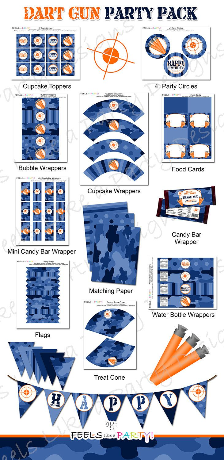Dart Gun Party Pack with Blue Camo  Printable  Instant