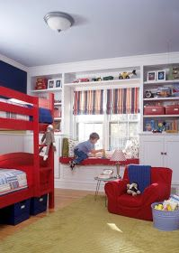 A timeless red, white, and blue color scheme gives this boy's room staying power. Beaded-board wainscoting, classic Roman shades, and crisp...