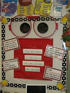 We thought this bulletin board design from first grade teacher, Starr Phippen, is a great way to get your students {of any age} to pay attention to important writing elements. With each writing...