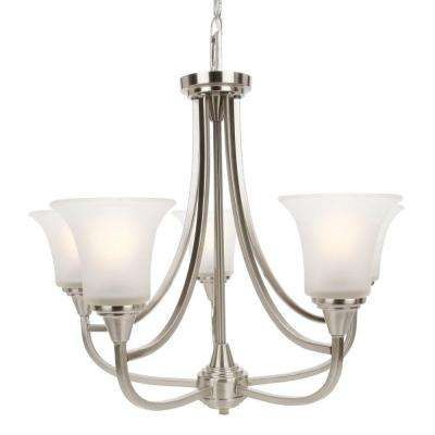 5 Light Brushed Nickel Chandelier With Frosted Glass Shade