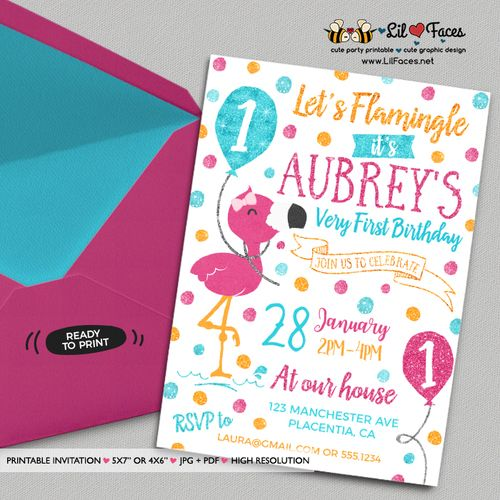 Flamingo Birthday Invitation Pool Party DIY Summer Invites Glitter Lets Flamingle Luau