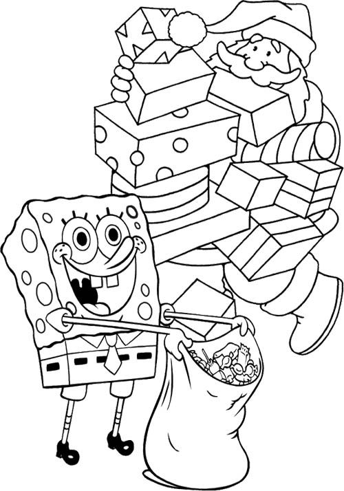 spongebob and santa many gift in christmas coloring page