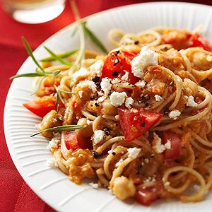 Pasta with Garbanzo Beans. Heart-healthy fresh tomatoes and garbanzo beans give this easy vegetarian main dish extraordinary flavor.