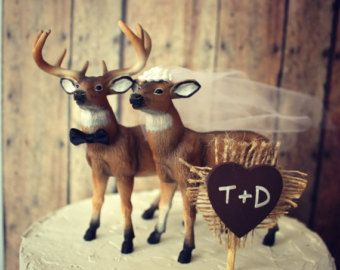 Groom wedding cake topper-cerf-buck et chasseur de gâteau de mariage personnalisés doe topper-mariage cake topper-buck de chasse