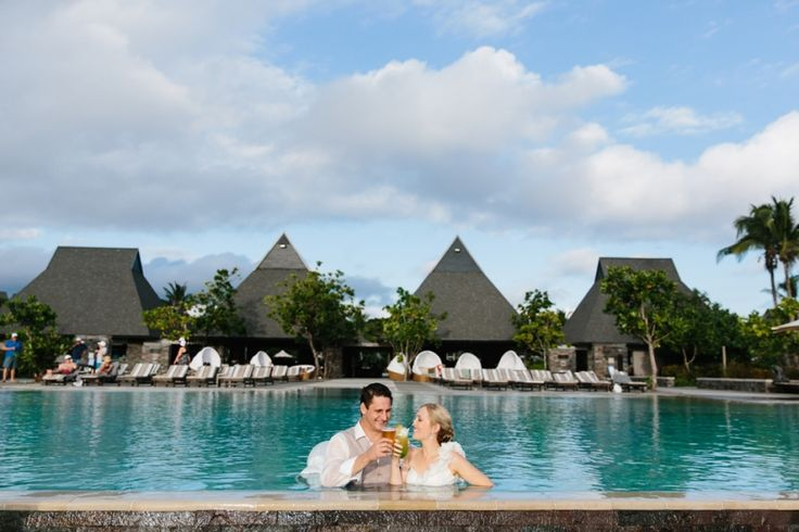 Trash the dress / drown the gown day after wedding in Fiji. Cocktails in the pool! Image: Cavanagh Photography http://cavanaghphotography.com.au