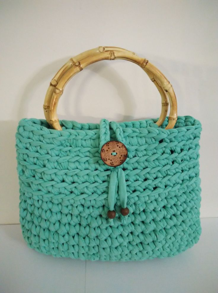 crochet t-shirt yarn handbag bright green with bamboo handles by yrozafcrocheting on Etsy