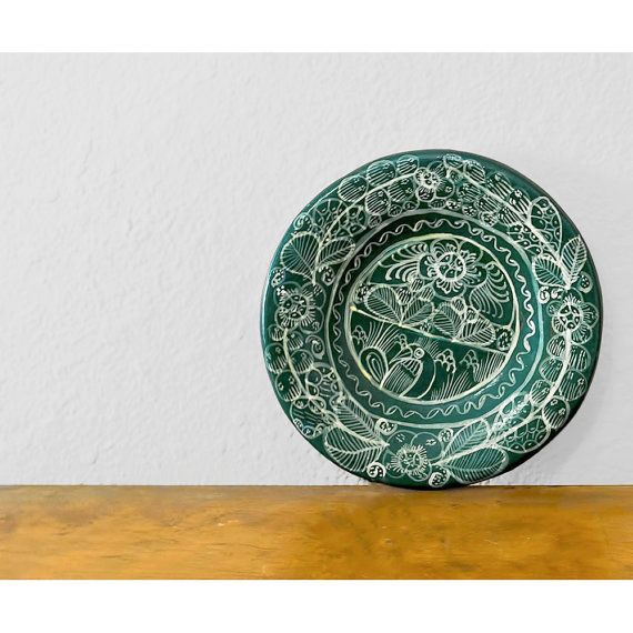 SALE / Wall Hanging / Mexican Tonala Pottery Plate / Green Hand Painted Folk Art Floral Decorative Plate / Southwestern Decor