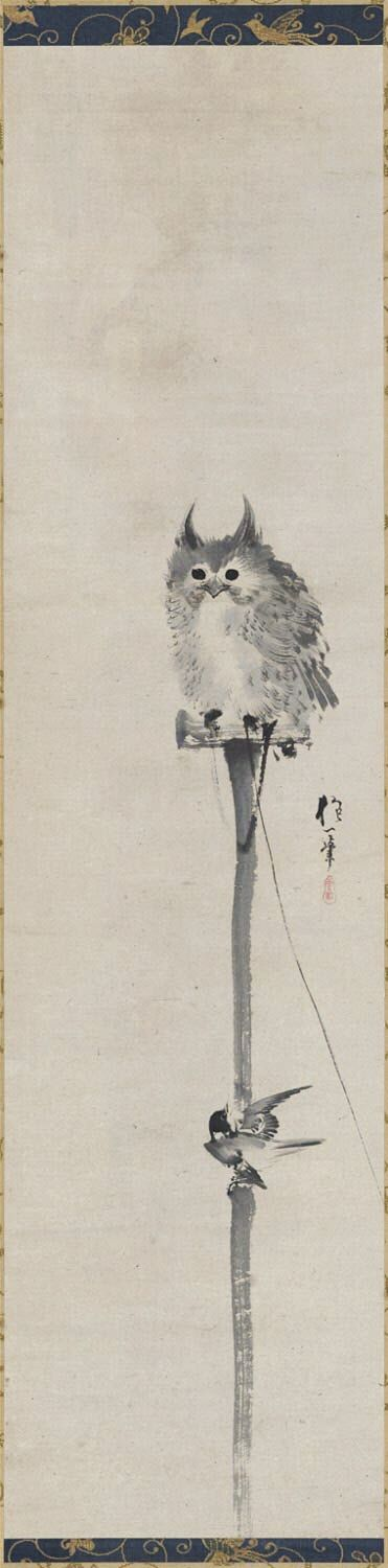 Owl and Bird. 酒井抱一 Sakai Hōitsu. Japanese hanging scroll. Circa 1800. Philadelphia Museum of Art.