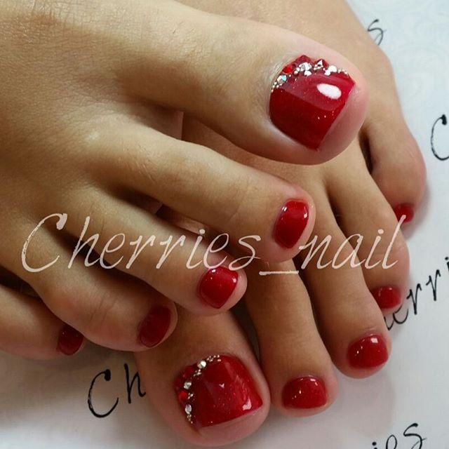 Red - Rhinestone Toe Nail Art | Toe nail designs, Toe ...