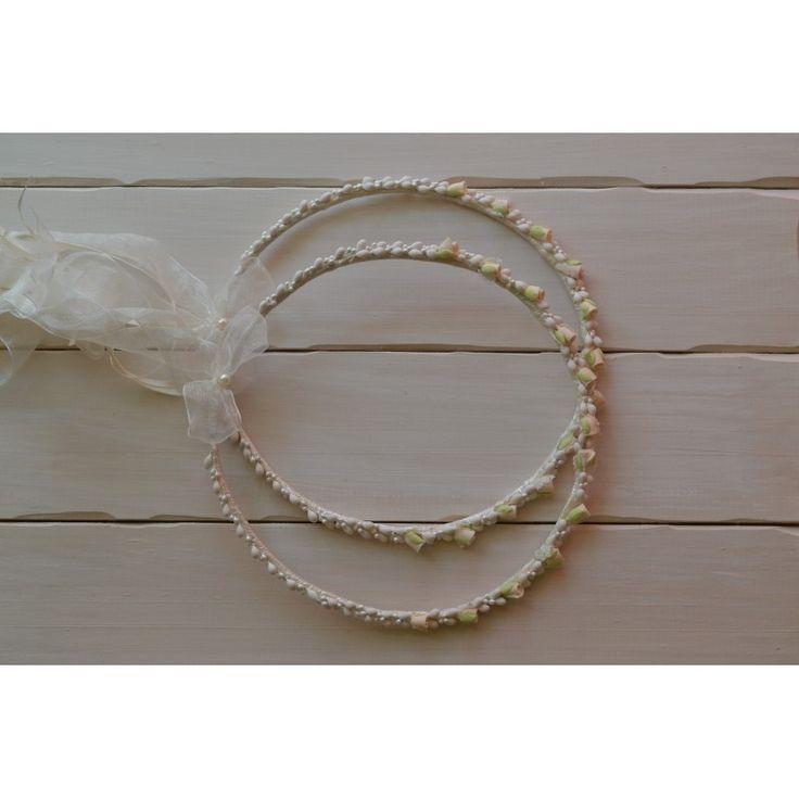 Χειροποίητα στέφανα γάμου από λεμονανθούς και πορσελάνη - Eleni Mavrogeni