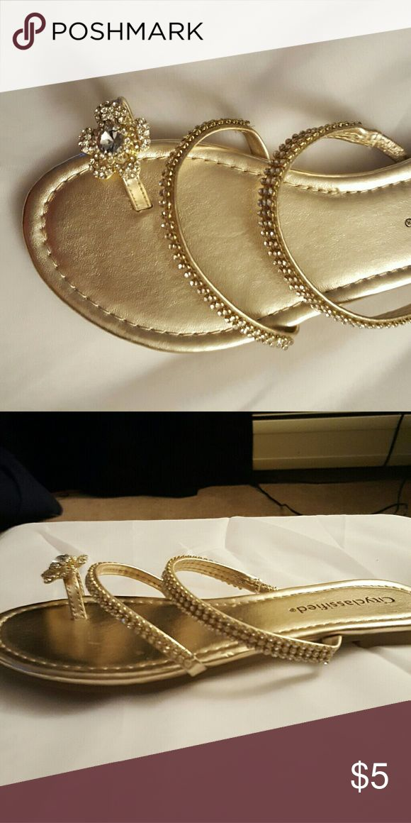 Dressy flip flops NEW Gold and diamond flip flop city classified  Shoes Sandals