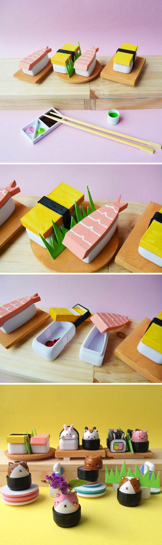 Japanese Bento Set - Handpainted sushi figurine miniature - small container -trinket box - 3d printed - tamago - shrimp