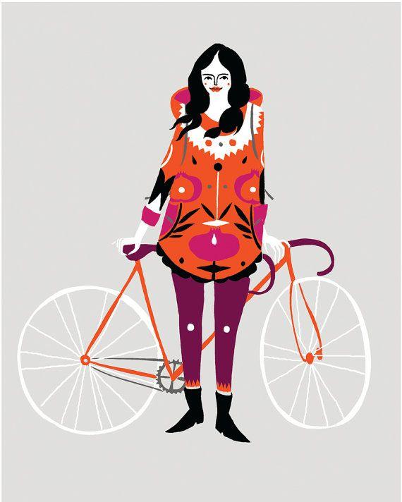 Bike Girl Print / pre  order by KarolinSchnoor on Etsy