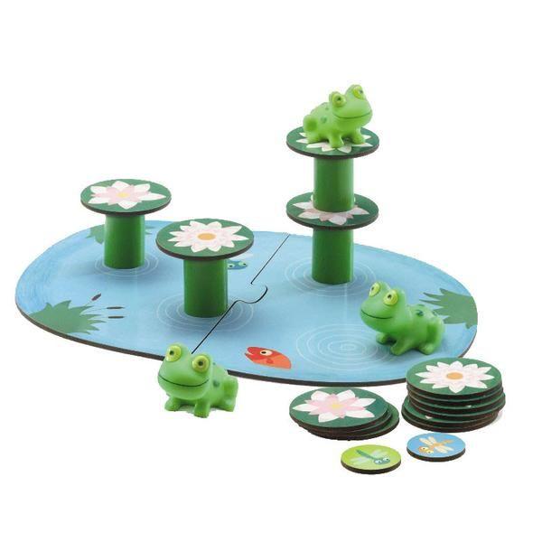 Sjovt og underholdende balance brætspil til de allermindste, hvor man skal passe på at frøerne ikke vælter i vandet! Et godt spil der udvikler dialog mellem bør