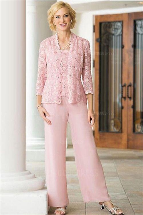Pant Suits Straps Square Ankle Length Chiffon Lace Mother