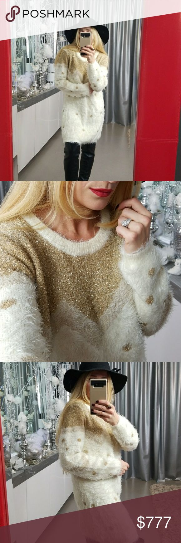 "FUZZY KNIT GOLD METALLIC DETAILS SWEATER Brand new with tag  Beautiful and cozy cream FUZZY sweater with gold metallic threaded details. A MUST HAVE fornthe upcoming holiday and cooler weather!!!  Length 30"" Bust 20-29"" across  Material 86% nylon 14%metallic . Sweaters Crew & Scoop Necks"