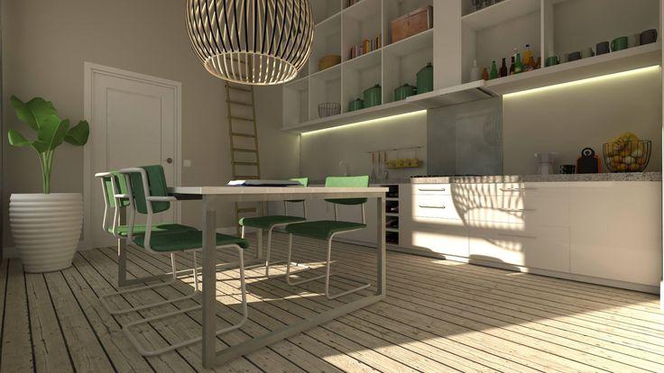 Wat doe je als de ruimte niet groot is qua oppervlakte maar wel hoogte hebt? Kies dan voor kasten op maat gemaakt tot aan het plafond, een groots effect. Vraag naar de mogelijkheden! www.pulsdesign.nl