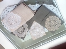 Linen hand towels sith hand made lace...
