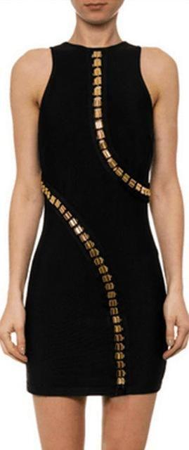 Metal-Beaded Black Mini Tank Bandage Dress