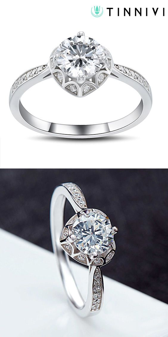 0f14e6109d Shop Round Cut White Sapphire 1.0CT 925 Sterling Silver Promise Rings For  Her online, Tinnivi #Jewelry creates quality fine jewelry at gorgeous  prices.