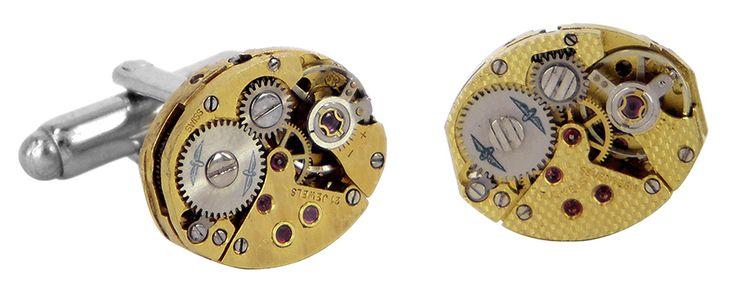 Gold 21 jewels cufflinks watch movement cufflinks