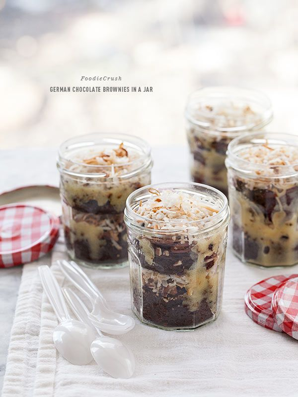 German Chocolate Brownies In a Jar Plus Friday Faves | foodiecrush.com for dessert on the go