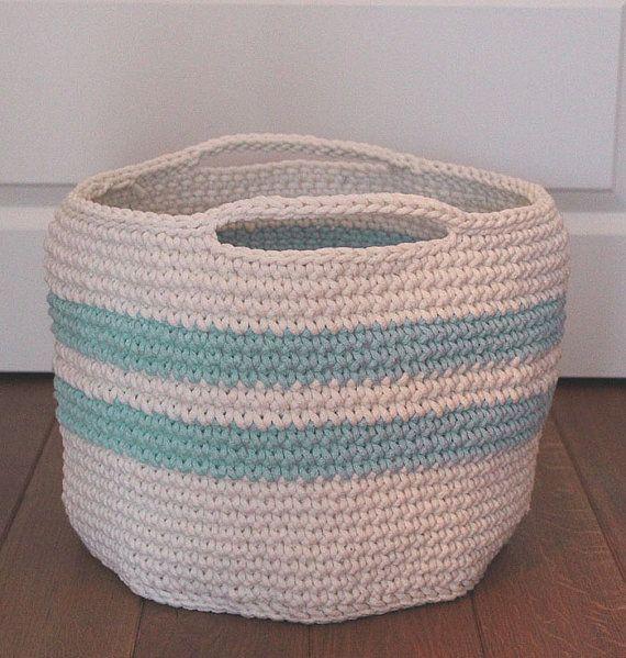Handmade Cotton Baskets : Xl large handmade chunky crochet basket cotton cord made