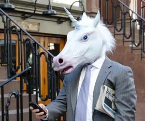 Unicorn Mask ~ Perfect for business meetings, first dates, or anywhere there will be lots of eyeballs, the unicorn mask will prove to the world that unicorns are real and you are among their half-breed brethren.