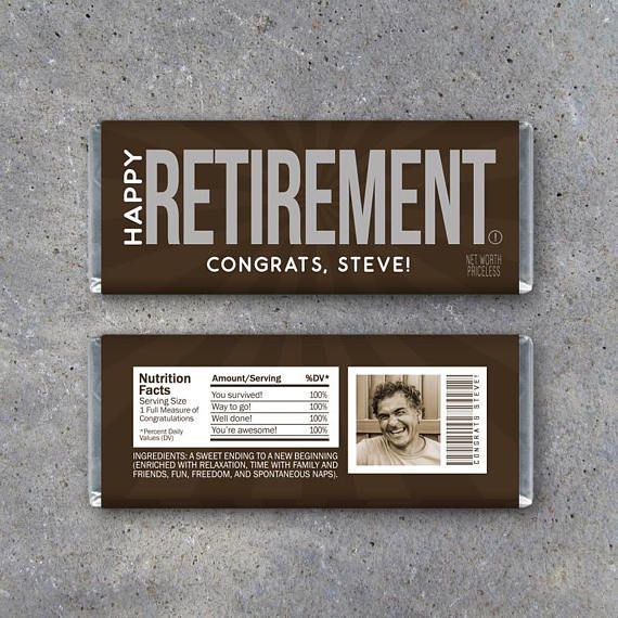 Happy Retirement Candy Bar Wrappers! Printable Hershey's wrappers personalized with name and photo on the back. Print one for a retirement gift or print a bunch and use as party favors! Custom download by Studio 120 Underground, $10.