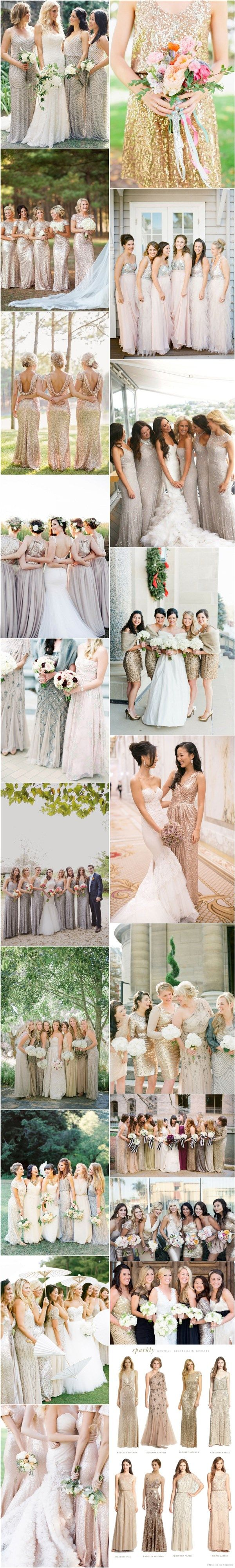 sparkly neutral gold sequined bridesmaid dresses / http://www.deerpearlflowers.com/2015-wedding-trends-sequined-metallic-bridesmaid-dresses/2/