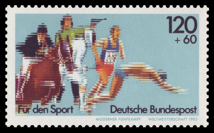 Deutsche Briefmarke von 1983 zur Weltmeisterschaft im Modernen Fünfkampf ◆Moderner Fünfkampf – Wikipedia http://de.wikipedia.org/wiki/Moderner_F%C3%BCnfkampf #Modern_pentathlon