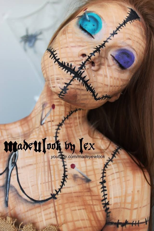 Voodoo Doll makeup by MadeULook by Lex! You can see the tutorial at http://www.youtube.com/watch?v=SeDNV21L19s=c4-overview=UUiXoZHFowJUlDVMuRFAwVAw