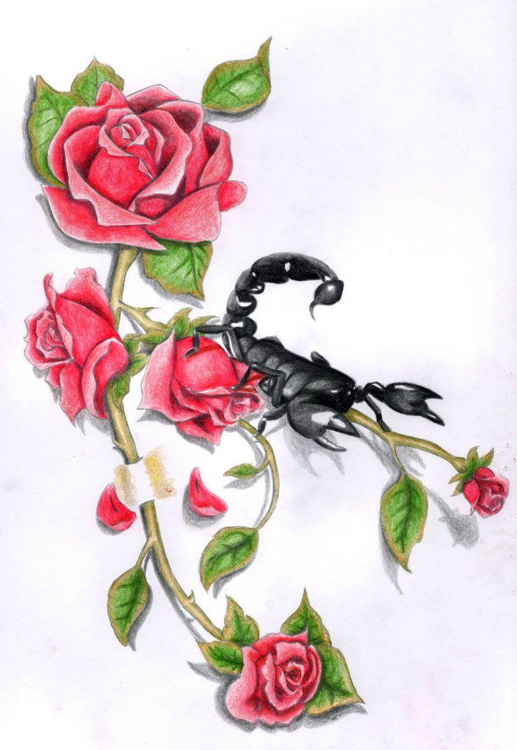 самый распространенный картинки тату скорпиона и цветка возможность найти