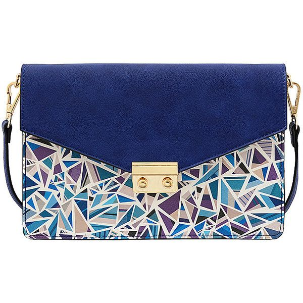 Mellow World Alicia Crossbody - Blue - Crossbody Bags (£22) ❤ liked on Polyvore featuring bags, handbags, shoulder bags, purses, clutches, blue, hand bags, blue purse, blue cross body purse and blue crossbody