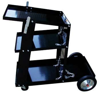 """Deluxe Mig Welder Cart - ATD-7040Deluxe MIG Welder CartHeavy-Duty Steel Construction(2) 7-1/2"""" Rubber Wheels & (2) 3-3/4"""" Swivel Casters19-1/2""""x12-1/2"""" Top Shelf & (2) Storage Shelves for AccessoriesBuilt-In Cylinder Rack With Safety ChainCable Holders For Torch & Ground CablesHeight: 28"""" Tall, Weight: 35 lbs. Automotive > Shop Equipment. Weight: 90.00"""