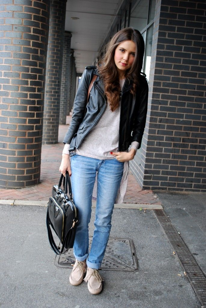 Casual Leather Jacket Outfit
