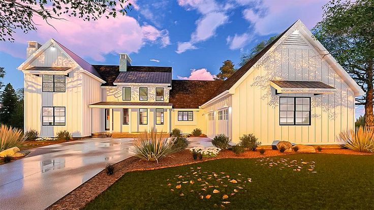 <ul><li>This L-shaped, 2-story, modern Farmhouse plan is highlighted on the exterior by dual fireplaces, metal roofs, front and back porches and board and batten siding. Inside, immediate impressions are made by a soaring 2-story-high, wood-beamed cathedral ceiling in the great room.