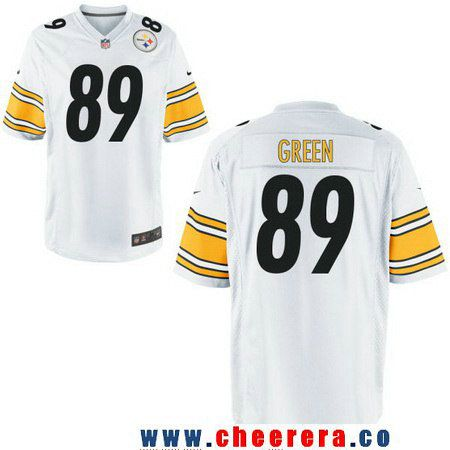 db4ad8768 ... Mens Pittsburgh Steelers 89 Ladarius Green White Road Stitched NFL Nike  Game Jersey ...