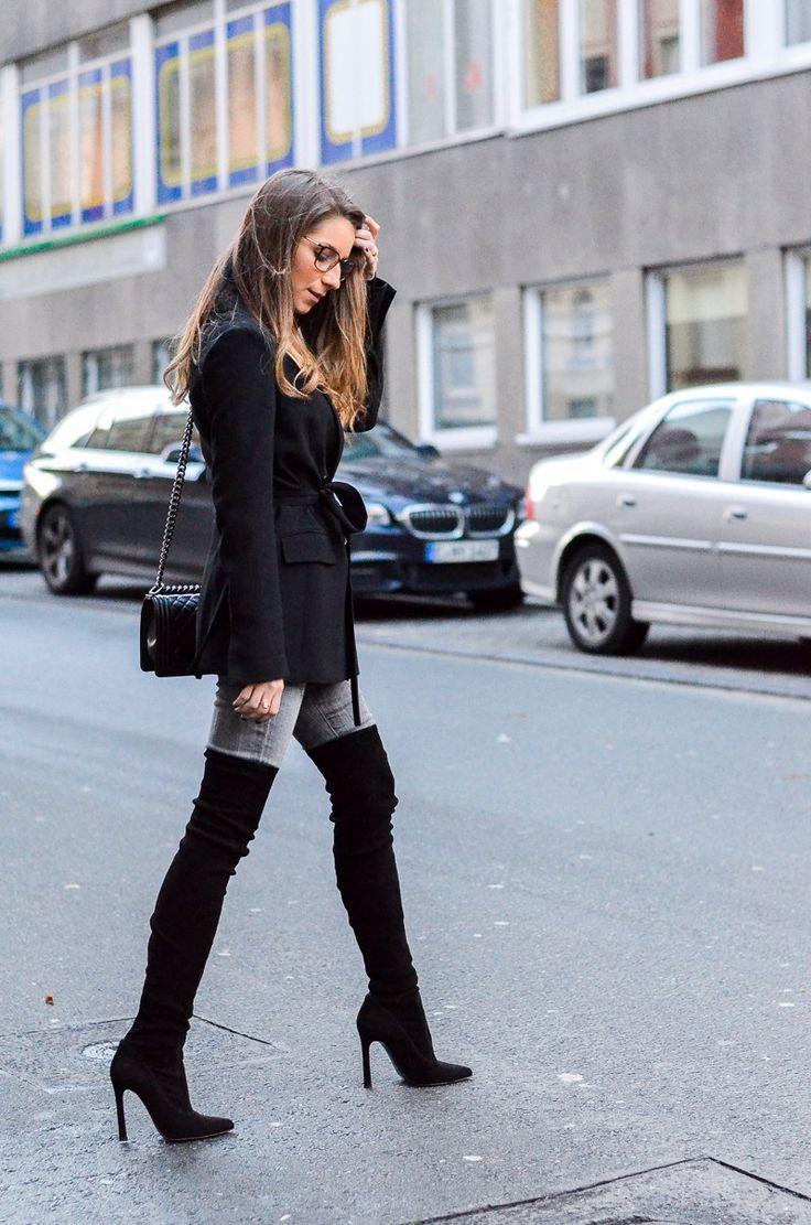 613 besten jeans and overknee boots bilder auf pinterest. Black Bedroom Furniture Sets. Home Design Ideas