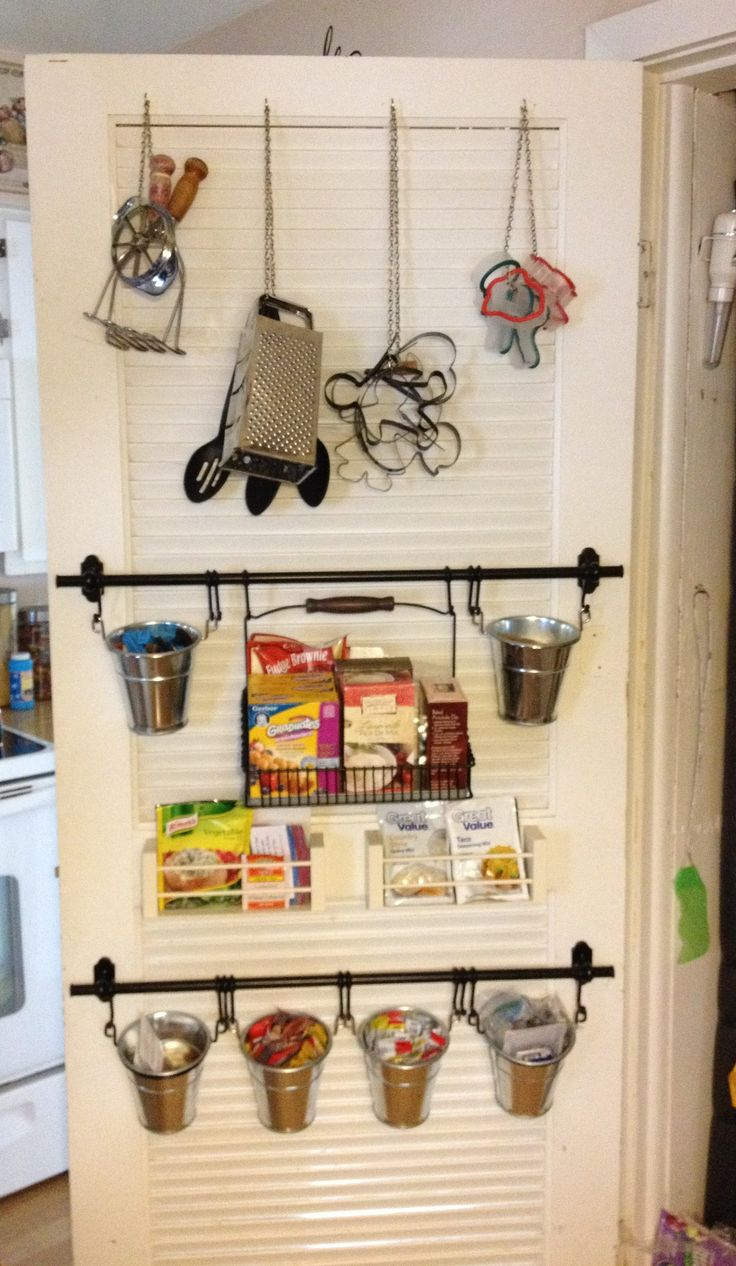 Pantry Door Organization Ikea - Fintorp rails and cutlery buckets