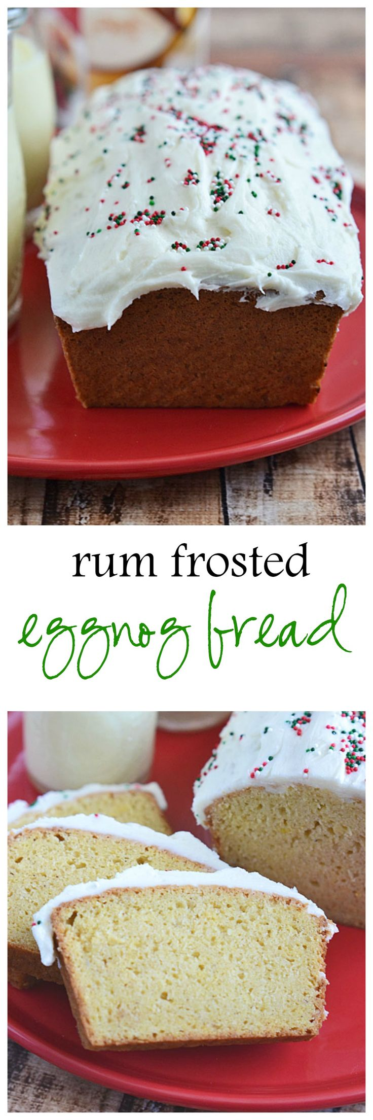 Packed with holiday flavors - eggnog, nutmeg, vanilla, and rum - this Rum Frosted Eggnog Bread is the perfect addition to our holiday breakfast table! by kitchenmeetsgirl #Bread #Rum #Eggnog #Holiday